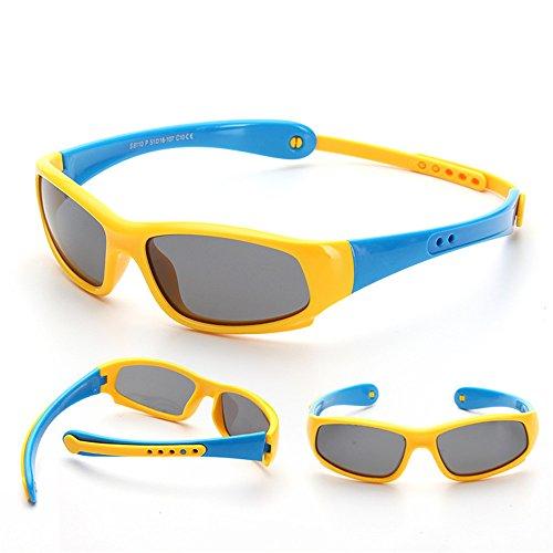 Y-WEIFENG Flexible Kids Polarized UV Protection Sonnenbrille mit Trägern für Jungen Mädchen von 3 bis 12 Jahren (Farbe : Gelb)