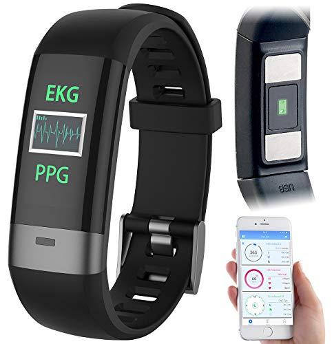 Newgen Medicals Pulsuhr: Fitness-Armband, Blutdruck-/Herzfrequenz-/EKG-Anzeige, Bluetooth, App (Blutdruckuhren)
