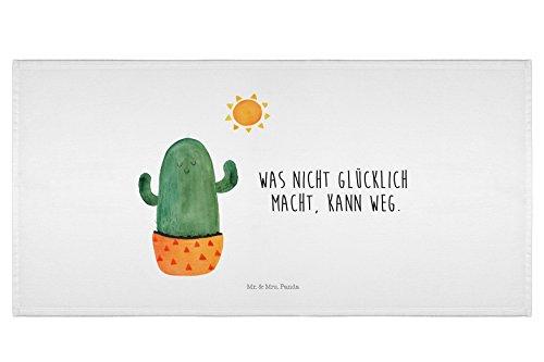 Mr. & Mrs. Panda 50 x 100 Handtuch Kaktus Sonnenanbeter - 100% handmade in Norddeutschland - Kaktus, Kakteen, Liebe Kaktusliebe, Sonne, Sonnenschein, Glück, glücklich, Motivation, Neustart, Trennung, Ehebruch, Scheidung, Freundin, Liebeskummer, Liebeskummer Geschenk, Geschenkidee Handtuch, Badehandtuch, Badezimmer, Gästehandtuch
