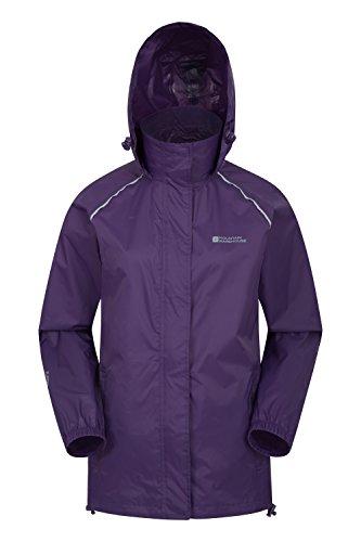 Mountain Warehouse Pakka Jacke für Damen - Wasserfester Regenmantel, Frau verstaubare Freizeitjacke, atmungsaktive, leichte Windjacke, bequemer Damenmantel - Für Reisen Violett DE 34 (EU 36)