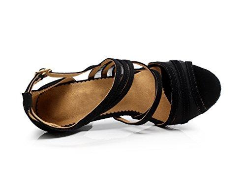 Minitoo QJ7036- Eleganti scarpe da ballo da donna, con cinturini in pelle scamosciata, adatte per tango e balli latino-americani Black