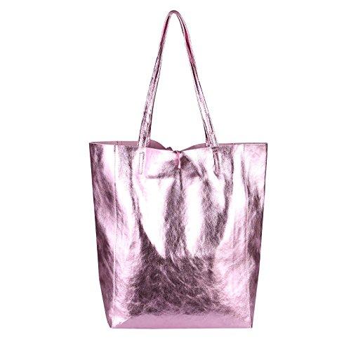 9655206ef849e ... OBC Made in Italy DAMEN LEDER TASACHE DIN-A4 Shopper Schultertasche  Henkeltasche Tote Bag Metallic ...