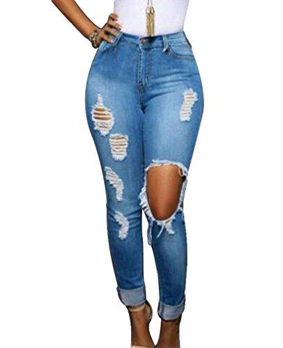Dooxi Donna Casuale Sciolto Boyfriend Denim Pantaloni Eleganti Vita Alta Strappati Distruggere Jeans Azzurro