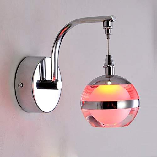 Chrom Wand Globus (WYKDL Einfache LED Chrom Kristallglas Wandleuchte Globus Wandleuchte Wandleuchte Wandhalterung Licht für Schlafzimmer Nachtwandleuchte Gang Eingang Korridor Leuchten (Color : Red))