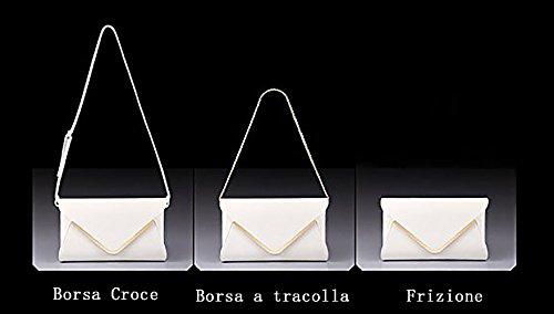 Crafeel Clutches Damen Leder Schultertaschen Abendtaschen Weiß
