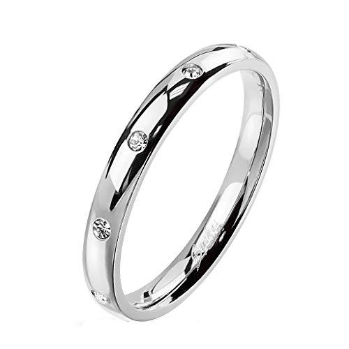 Paula & Fritz® Damen-Ring glänzend 3mm Zirkonia Silber Gelb-Gold Rosé-Gold Bunt Freundschafts-Ring Partner-Ring Edelstahl 316L R-M6822S_80