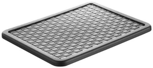 Rotho 1115508080 Deckel zu Aufbewahrungskiste Dekobox Country A4, Maß 37.5 x 28.5 x 1.5 cm (LxBxH), in Rattan-Optik aus Kunststoff (PP), schwarz