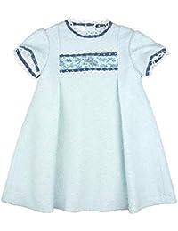 12391800f Foque - Vestido para niña de Tweed Celeste Ribeteado en Azul Oscuro. Manga  Corta.