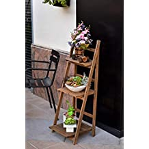 YATAI Natural Wood Rack Flowers Stand Decorative 3 Layers Flower Pots Stand for Home Living Room Decoration - Bookshelf – Flowers Stand