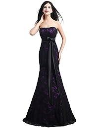 609b0766b Beauty-Emily Cordón de la Corte Sirena sin tirantes sin mangas del Bowknot  del vestido