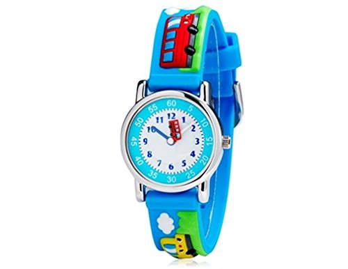 Children-3D-Bus-Design-Style-Wrist-Watch-with-Stainless-Steel-Case-Rubber-Strap-Blue