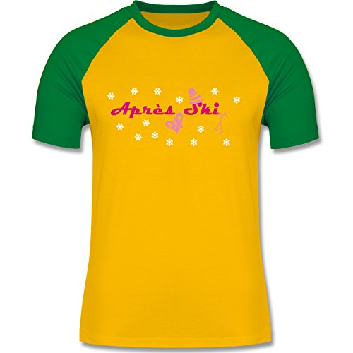 Après Ski - Apres Ski Schneeflocken - zweifarbiges Baseballshirt für Männer Gelb/Grün