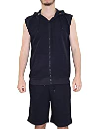 New Mens Track costume patterened Sweat shorts Set doublé zippé à capuche Gillet Top