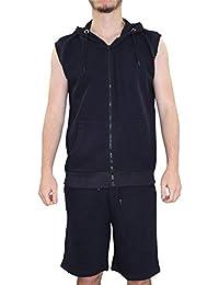 New Mens Track costume patterened Sweat shorts Set doublé zippé à capuche Gillet Top