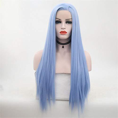 Perücke Lace Front Perücke Langes Gerades Haar Layered Hair Synthetisches Haar 22 Zoll Heatproof Perücke Damen Hellblau Natural Full Straight Long Lace Front,Blue