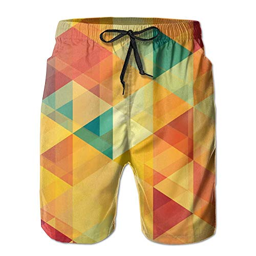 khgkhgfkgfk Men's Shorts Summer Fit Swim Trunk Quick Dry Classic Orange Gradient Gradual Pattern Printed Beach Shorts with Pockets Medium -