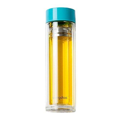 JE Water bottle Tragbare Wasserflasche Doppel isolierte Tasse verdicken unteren Hand Tasse Tee Tasse Glas 350ml (Farbe : - Glas Doppel-kessel