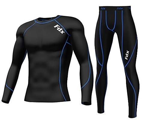 Haut Couche de Base de compression pour homme FDX Armour Peau + legging pour homme coupe Set moyen noir - Black/Blue SET (Top and Bottom)