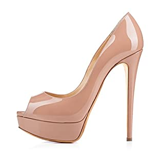 Onlymaker Fashion Damenschuhe High Heels Peep Toe Color Block Pumps mit Plateau Lackleder Natural EU44
