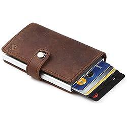 Dlife RFID Carte de Crédit Titulaire de Automatique Pop-up en Aluminium Blocage Étui PU Cuir Entreprise Slim Mini Porte-Monnaie (Brun Foncé)