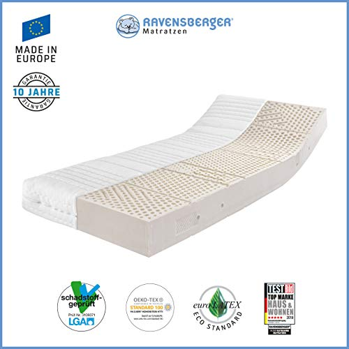 Ravensberger Matratzen Latex ÖKO TEX 100 7-Zonen-Komfort-Latexmatratze | H2 RG 60 (45-80 kg) | Made IN Germany - 10 Jahre Garantie | Oeko-TEX® 100 MEDICORE silverline®-Bezug | 90 x 200 cm