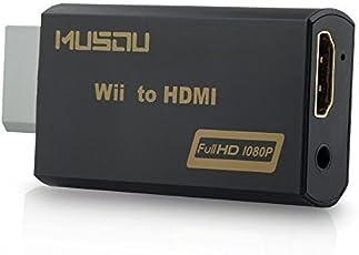 Musou Wii to HDMI Converter Adapter Stick 720P 1080P HD Output Adapter (Wii zu HDMI Konverter Adapter) for Nintendo Wii,Schwarz