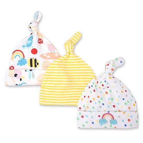 Cute On CuteOn 3 Pack Baby Beanie Knot Hat Newborn Boys Girls Cotton Adjustable Cap For Baby 0-6 Months 10-Rainbow