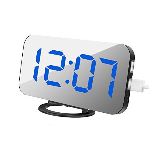 AimdonR Alarm Clock, Digitaluhr mit großem 6,5' Easy-Read LED-Display, Diming-Modus, Snooze-Funktion, Spiegelfläche, USB-Ladefunktion