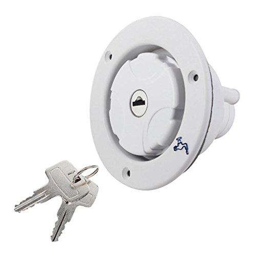 D DOLITY Runde Kunststoff Wassertankdeckel mit Schlüssel für Wohnmobil Wohnwagen - Weiß - Wassertank Deckel