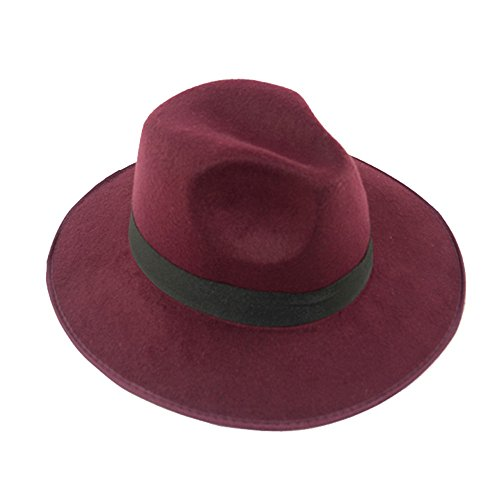 Chapeau Feutre Casquette Chapeau Bob Femme Fille Élégant vin rouge