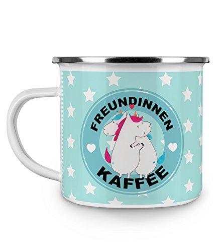 Mr. & Mrs. Panda Emaille Tasse Einhorn Freundinnen Kaffee - 100% handmade in Norddeutschland - Tasse, Emaille Tasse, Unicorn latte, Kaffeetasse, Kaffeetasse, Latte, Metalltasse, Campingbecher, bae, Camping, Freundinnen, Einhorn
