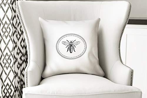 Toll2452 Landhaus-Dekokissen Französisch Bauernhaus Biene Handarbeit Vintage Stil Kissenbezug Überwurfkissen Rustikaler Stil Französisch inspiriertes tolles Geschenk (Französische Vintage Dekokissen)