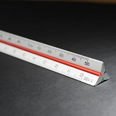 Dimensioni: 15 cm, metrico-Righello triangolare in alluminio, scala 1:10 1:20 1:25 1:50 1:12 5, scala 1:10