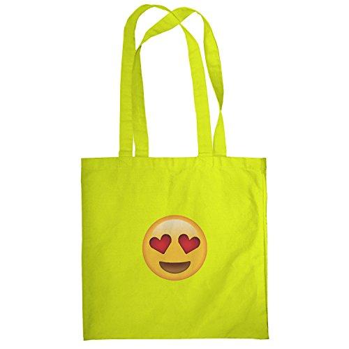 Texlab–Heart Eyes Emoji–sacchetto di stoffa Gelb