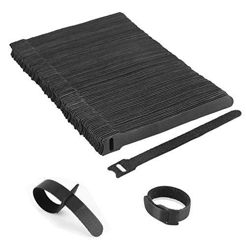KATELUO Kabel Klettband, Kabelbinder Schwarz Klettverschluss Selbstklebend Kabelbinder Wiederverschließbar mit Hochwertigem Nylonmaterial (100 Stück 150 x 12 mm) (12 Kabelbinder)