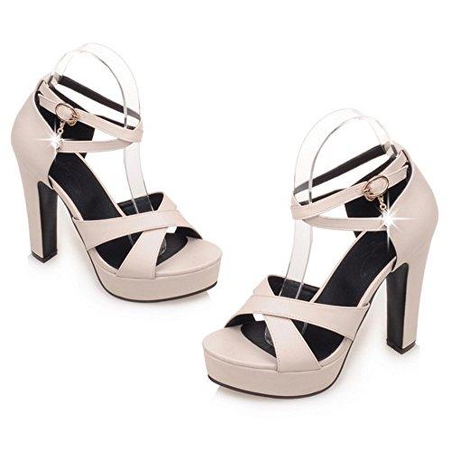 COOLCEPT Damen Mode Knochelriemchen Sandalen Peep Toe Blockabsatz Plateau Schuhe Beige