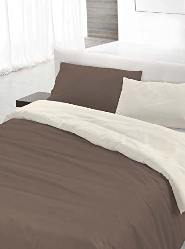 Italian Bed Linen Set Copripiumino Matrimoniale Marronee Panna 250 x cm 200 cm x 9b2c27