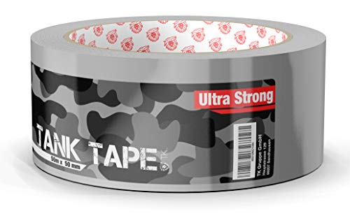Panzertape Tank Tape 2.0 - Gewebeklebeband 50 Meter * 50 mm, ultrastark & witterungsbeständig Panzerklebeband Reperaturband Gewebeband Duct Tape silber (Panzertape) -