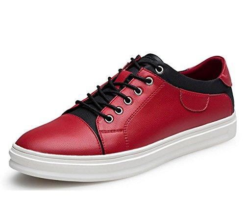 WZG automne et hiver chaussures blanches hommes faits à la main en cuir chaussures de sport, chaussures de sport chaussures de dentelle plate sauvages Red