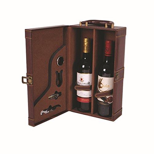 Deluxe Wine box Vahome® in pelle con 2bottiglie di vino in confezione regalo vino cavatappi, versatore per vino, Drip Ring Opener