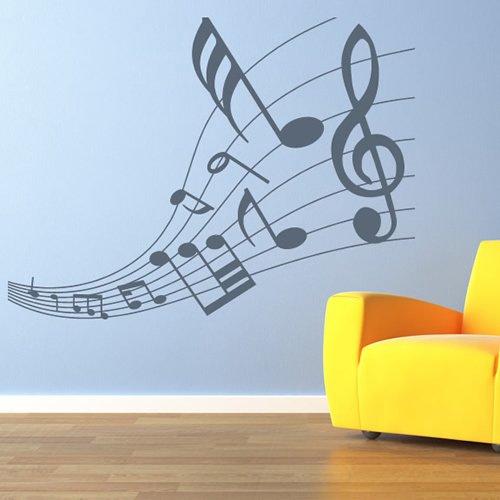 Partitur Verjüngt Musiknoten & Instrumente Wandaufkleber Musikhaus Abziehbilder verfügbar in 5 Größen und 25 Farben X-Groß Schwarz