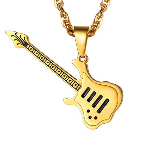PROSTEEL Collier Homme Musique Chaîne Pendentif Guitare...