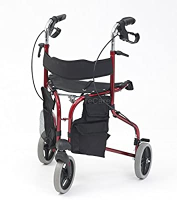 Drive Tri-Walker Walking Aid with Seat and backrest, Red