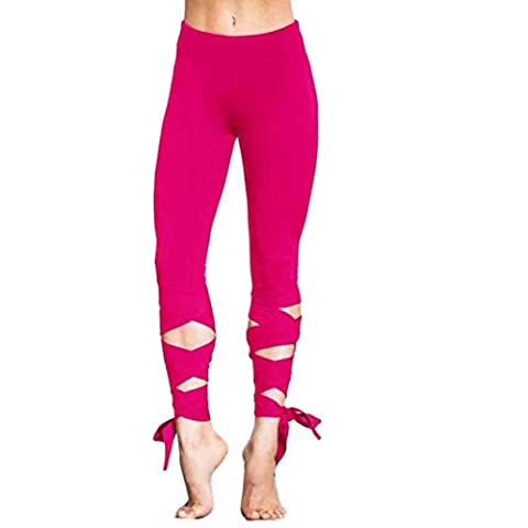 Covermason Women Bandage Stretchy Yoga Pants Flash Drying Sports Gym Workout Dance Athletic Leggings (Hot Pink,