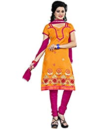 Jheenu Women's Musterd Cotton anarkali Embroidered Unstitched Dress Material