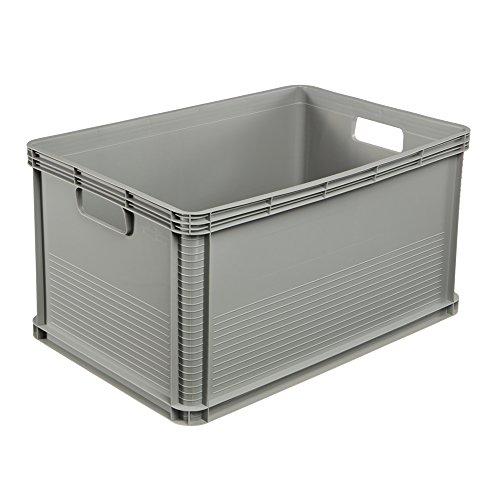 Stabile Transportbox, Säurebeständig, 60 x 40 x 32 cm, 64 l, Hellgrau