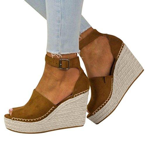 AMUSTER Sandalen Damen Sommer Elegant Schuhe Mode Strandschuhe Beach Sandalen Boho Casual Wedges Schuhe Damen Sandaletten Keilabsatz Kork Plateau Offene Schuhe