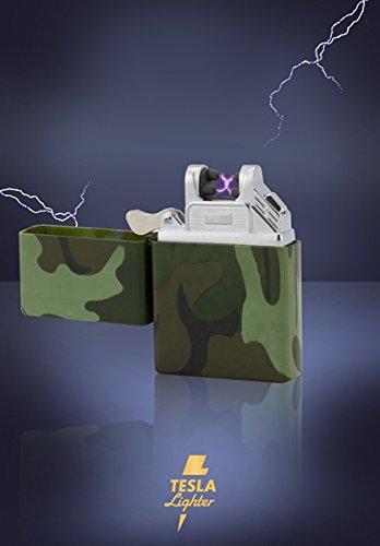 Tesla-Lighter T03 | Lichtbogen Feuerzeug, Plasma Single-Arc, elektronisch wiederaufladbar, aufladbar mit Strom per USB, ohne Gas und Benzin, mit Ladekabel, in edler Geschenkverpackung, Camouflage/Flecktarn