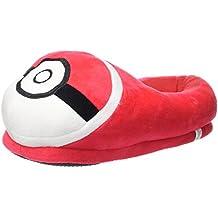 Carchet - Zapatillas de felpa para Niños y Adultos Unisex Pantuflas de Casa para Invierno Pokémon - talla única 36-44 - Pokéball color rojo-blanco