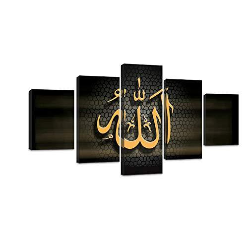 VIIVEI 5 PCS Ramadan Islam Allah der Koran Leinwand Modern Home Decor Art Wand Bild für Wohnzimmer Decor Art gerahmt fertig Zum Aufhängen